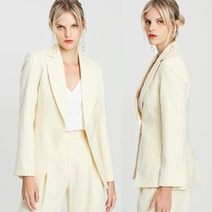 Topshop Wide Pinstriped Button Front Blazer 2